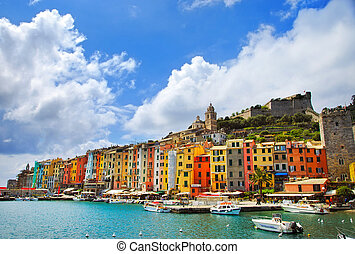 Portovenere village on the sea. Cinque terre, Ligury Italy -...
