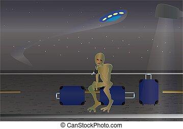 UFO Incident. Cartoon poster. - UFO Incident. Cartoon vector...