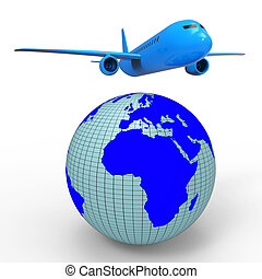 Worldwide Travel Shows Aeroplane Jet And Planet - Worldwide...