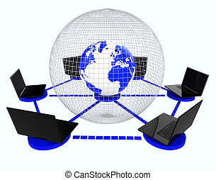 Global Computer Network Means World Monitor And Connectivity