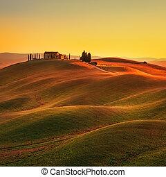 Tuscany, sunset rural landscape Rolling hi