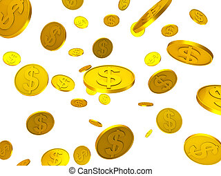 Dollar Coins Shows United States And Bank