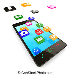 Social Media Phone Indicates News Feed And Blogs