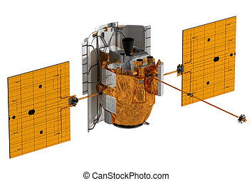 Interplanetary Space Station Above White Background. 3D...