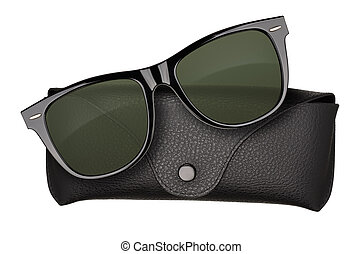 Sunglasses - Black sunglasses with case isolated on white...