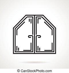 Attic window black line vector icon