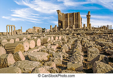 ancient city of Palmyra - old ruins in the ancient city of...
