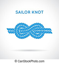 Sailor knot Nautical rope infinity sign Single flat icon...