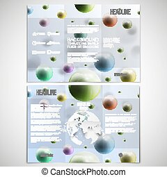 Vector set of tri-fold brochure design template on both sides with world globe element. Three dimensional glowing color spheres, blue background. Abstract colorful balls. Scientific or medical patterns