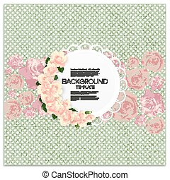 Invitation card with place for text and pink flowers over green dotted background, vector illustration