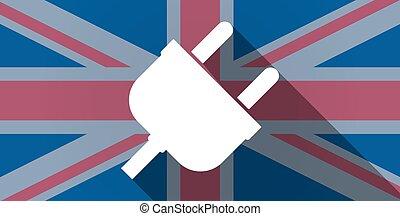 United Kingdom flag icon with a plug