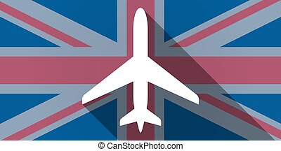 United Kingdom flag icon with a plane - Illustration of an...