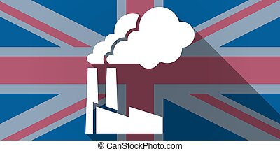 United Kingdom flag icon with a factory