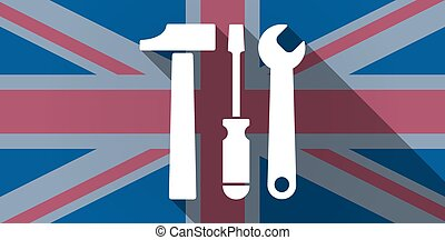 United Kingdom flag icon with a tool set