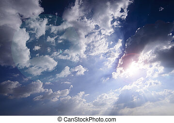 Cloudy day background - Cloudy day with sun light for...