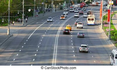 Urban road with cars and pedestrians Russia Moscow - road...
