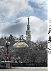 Providence skyline - Dramatic clouds over landmark buildings...