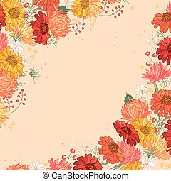 Backdrop with gerbera and aster. Red and yellow color. -...