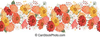 Seamless pattern brush with gerbera and asters. Endless...