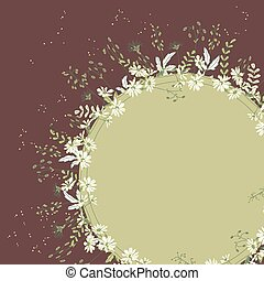 Round frame with herbs and flowers Green and brown color