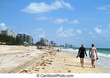 Walking on the beach - friends trolling on Fort Lauderdale...