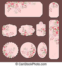 Collection with different paper labels. Round,square,rectangular, different shapes. Red and pink roses and herbs.