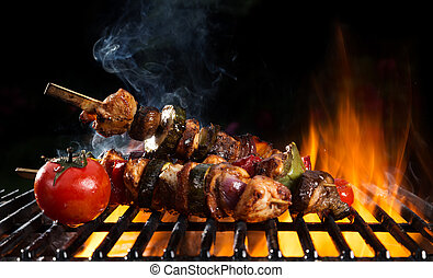 Delicious vegetable and meat skewer on grill - Fresh skewer...