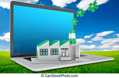 Environmentally friendly factory concept. Green factory on...