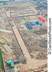 Top view of building construction site, preparing the land
