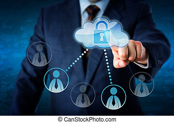 Executive Touching Locked Cloud Linked To Peers - Torso of...