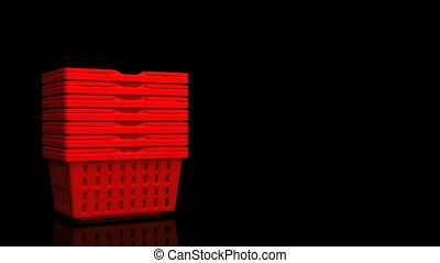 Red Shopping Baskets On Black Text Space. 3D render...
