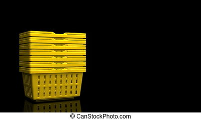 Yellow Shopping Baskets On Black Text Space. 3D render...