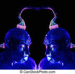 cyborg human robot or vitual reality. head connected to pc...