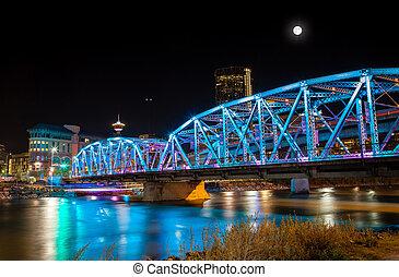 Langevin Bridge in Downtown Calgary - Full moon over...
