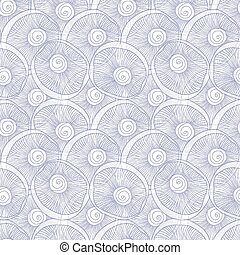 Vector line art seashells abtract seamless pattern
