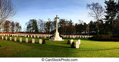 war memorial cemetery from world war 2 cross and graves on...