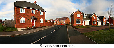 Housing estate in Cannock in England. Panoramic image of...