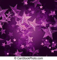 violet stars over dark violet background with feather center
