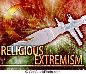 Religious extremism Abstract concept digital illustration -...