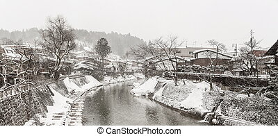 Winter Takayama panorama - Panorama Snow fall Winter in...