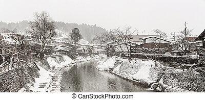 panorama, invierno,  Takayama