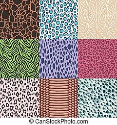 animal skin seamless pattern set