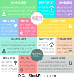 Vector infographics template in newspaper style. Colorful text board background, instruction or presentation elements