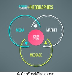 Vector circles infographics template. Message, market, media colorful options choice. Instruction or presentation elements
