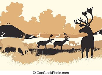Reindeer tundra - EPS8 editable vector illustration of...