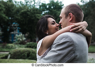Young couple having a great time - beautiful couple spends a...