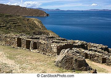 (island, sun), Sol, lago, Titicaca, chinkana, del, ISLA,...