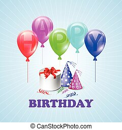 Happy Birthday. Illustration of a gift box and balloons