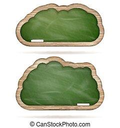 Blank green Blackboard cloud set. EPS 10