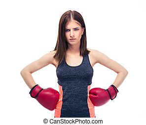 Fitness woman in boxing gloves